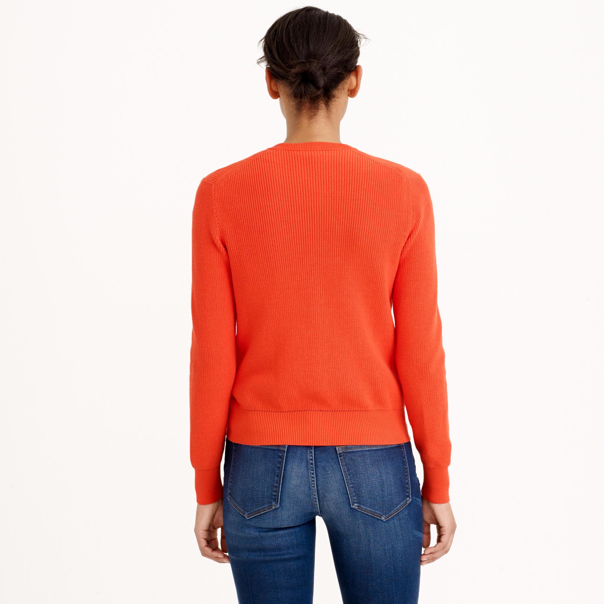 J.crew Ribbed Cotton Cardigan Sweater in Orange | Lyst