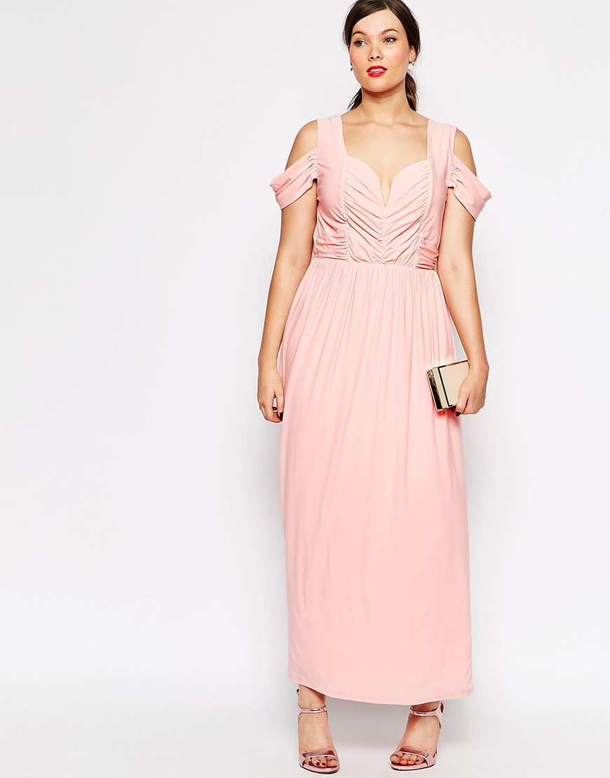 cdede885168 Lyst - ASOS Curve Wedding Maxi Dress With Drape Cold Shoulder in Blue