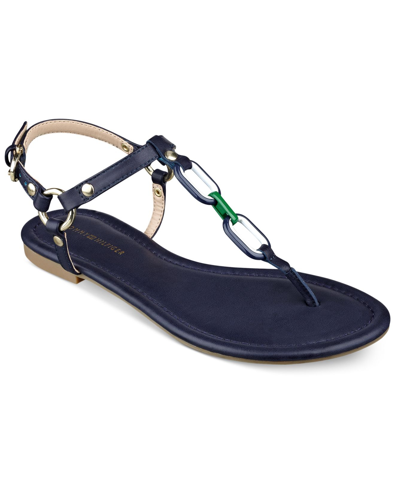 Tommy hilfiger Shelley Flat Thong Sandals in Blue | Lyst