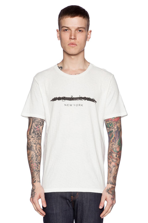Rag bone logo tee in white for men lyst for Rag and bone white t shirt
