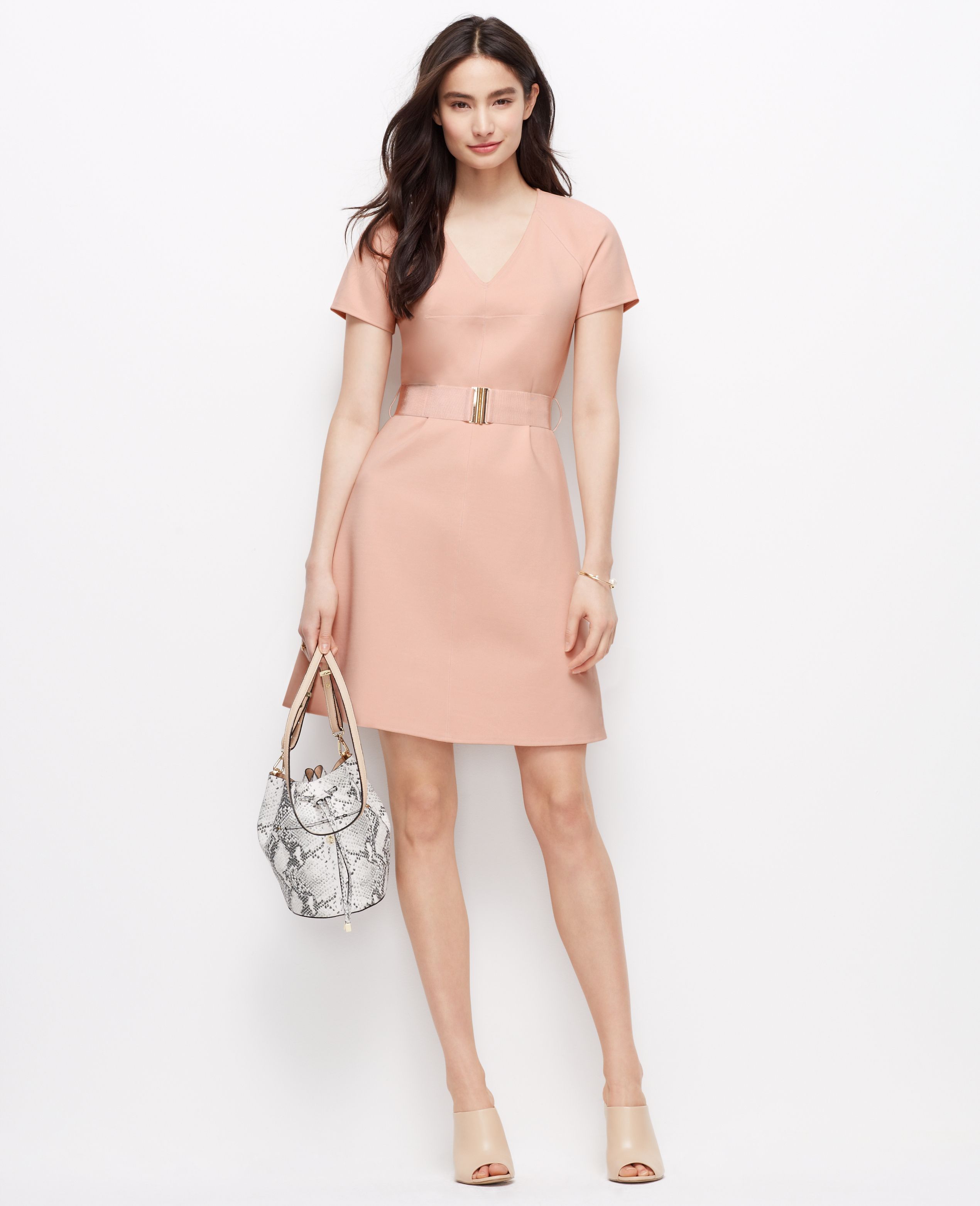 b677d0e92b0 Ann Taylor Petite Belted Ponte Dress in Pink - Lyst