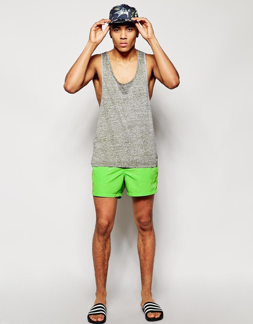 Asos Swim Shorts In Short Length in Green for Men | Lyst