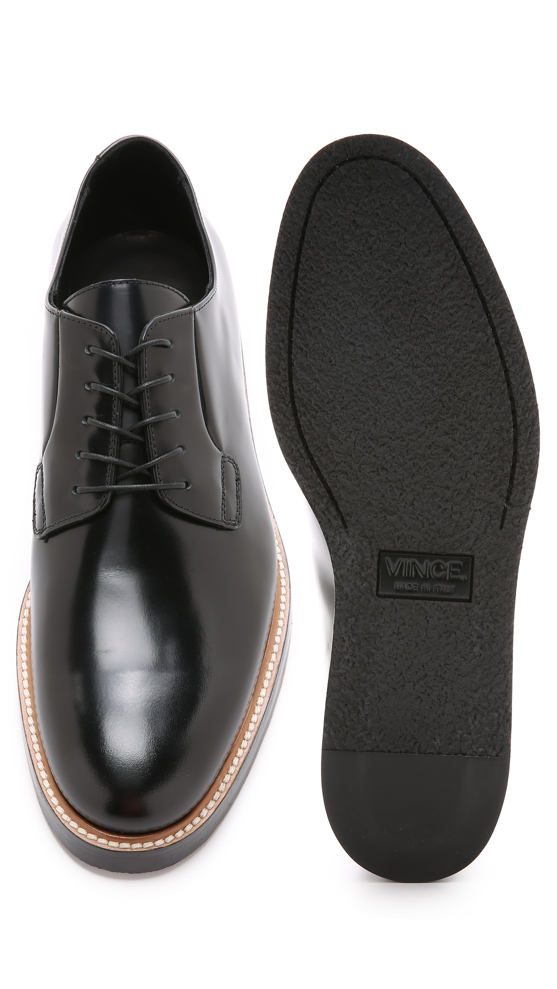 vince derby shoes in black for lyst