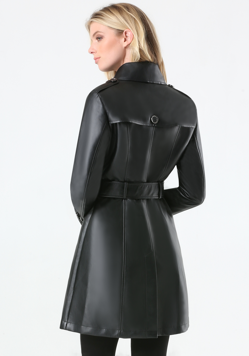 74ea89577 Black Faux Leather Trench Coat - Tradingbasis