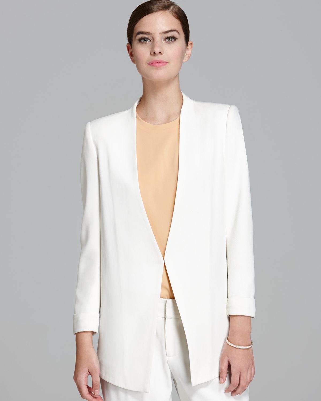 Alice   olivia Alice Olivia Blazer Long Slim in White | Lyst