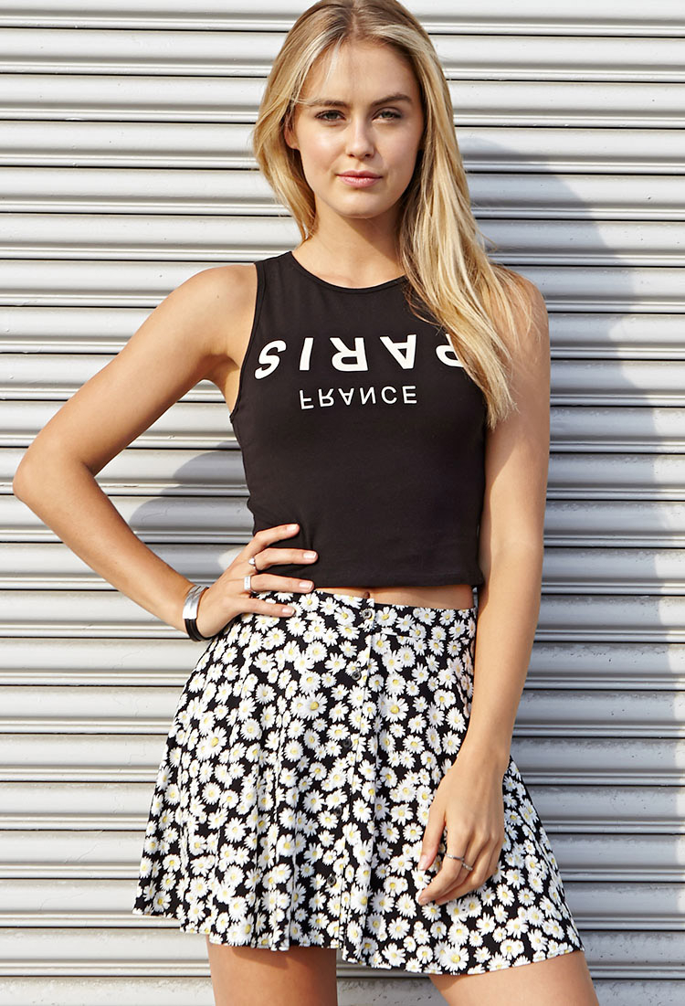 2a3b038ed2a Forever 21 Trippy Paris Crop Top in Black - Lyst