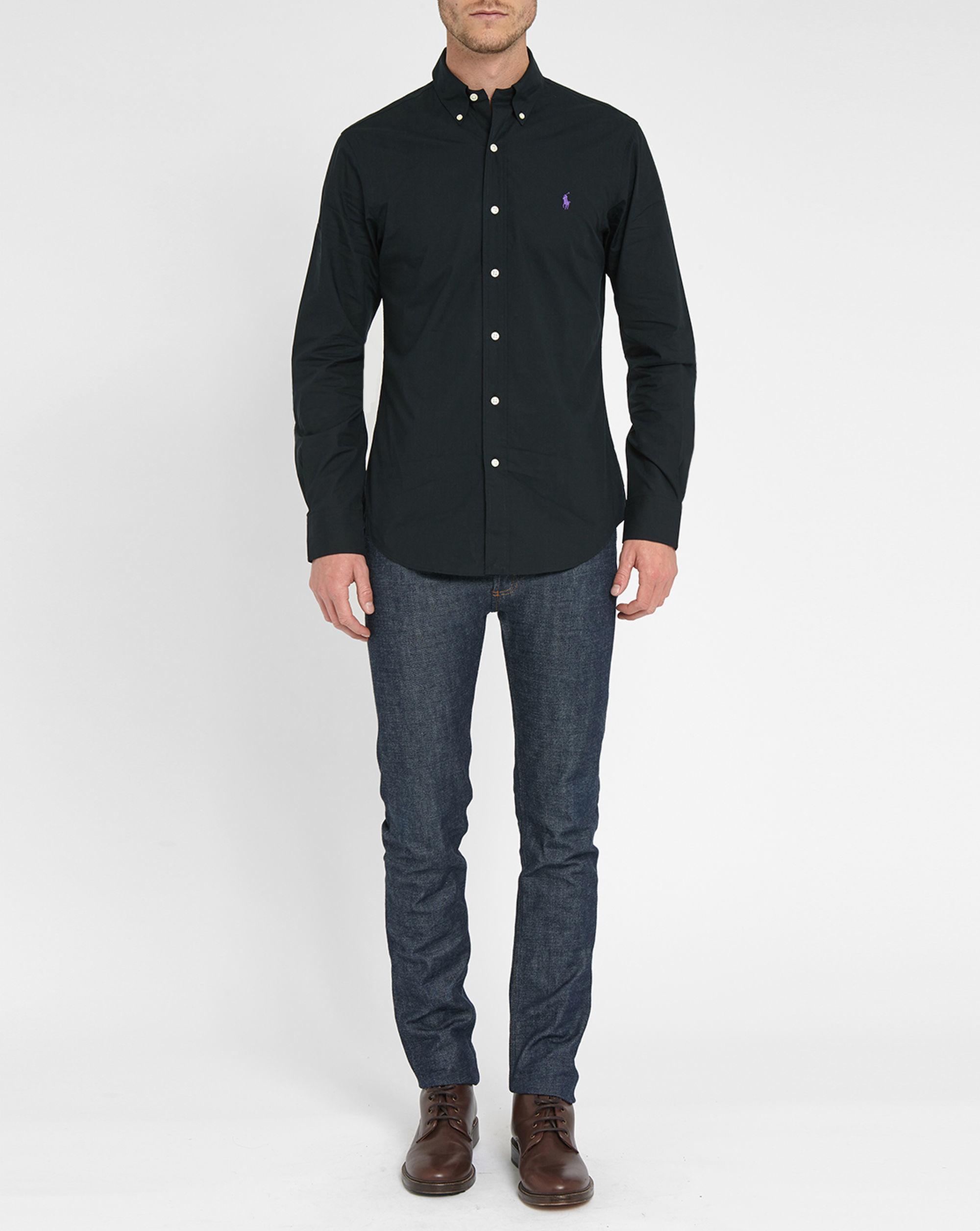 polo ralph lauren black poplin slim fit shirt in black for. Black Bedroom Furniture Sets. Home Design Ideas