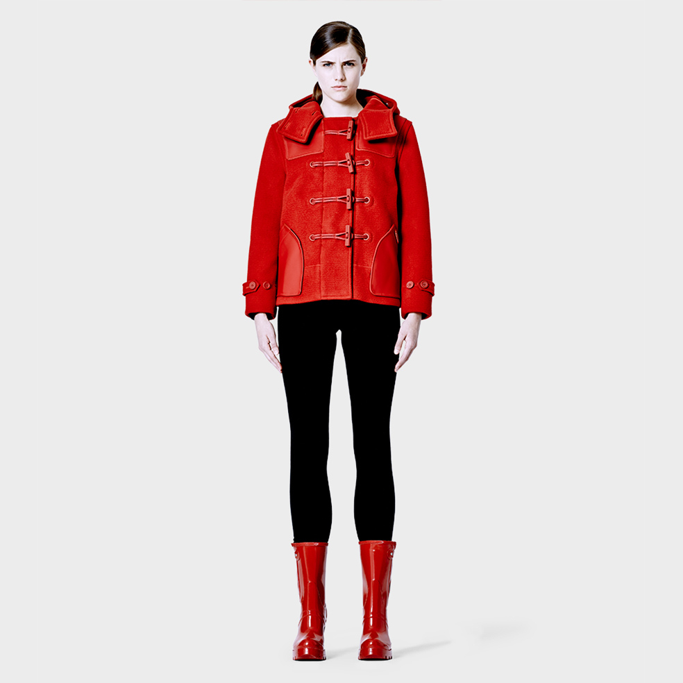 Hunter Original Cropped Duffle Coat in Red | Lyst