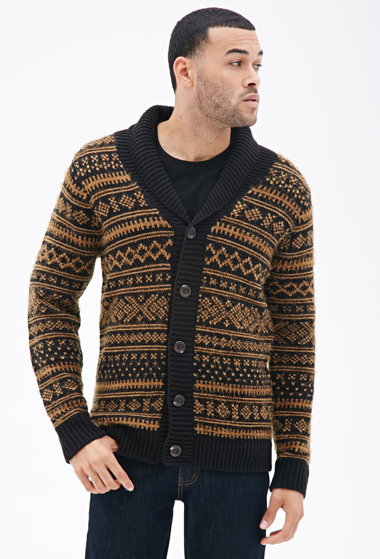 Forever 21 Geo-patterned Shawl Collar Cardigan in Black for Men | Lyst