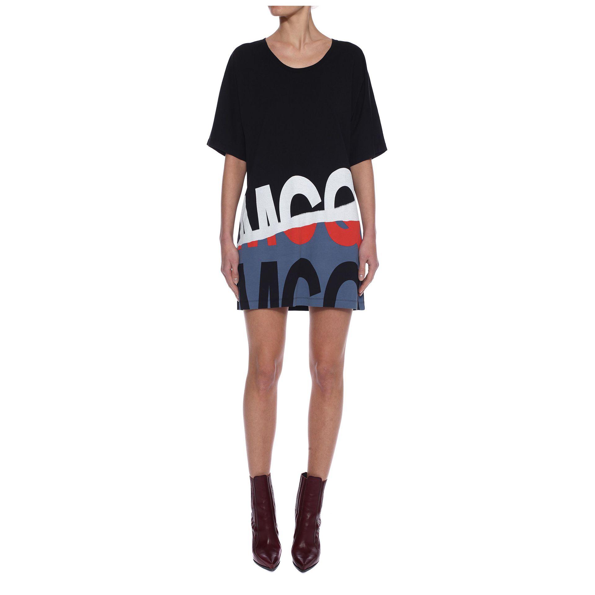 Lyst mcq mcq folded logo t shirt dress in black for Logo t shirt dress