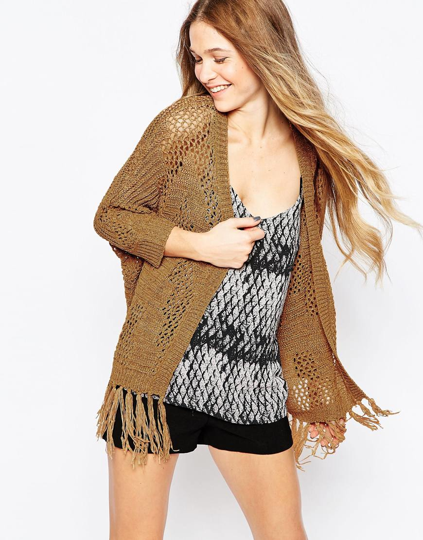 Vero Moda Knitting Yarns : Vero moda open knit cardigan with tassel detail in brown