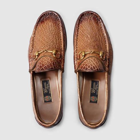 cebcce25156 Lyst - Gucci 1953 Horsebit Crocodile Loafer in Brown for Men