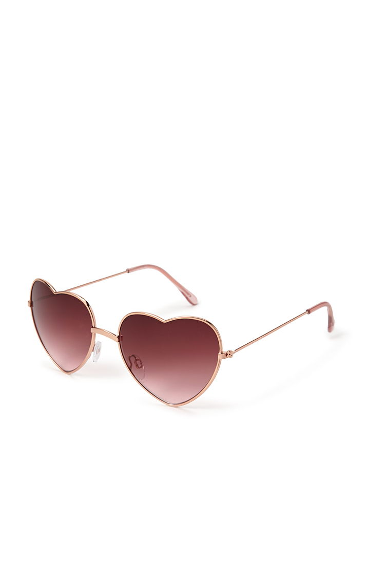 Sunglasses Forever 21  forever 21 heartshaped sunglasses in pink lyst