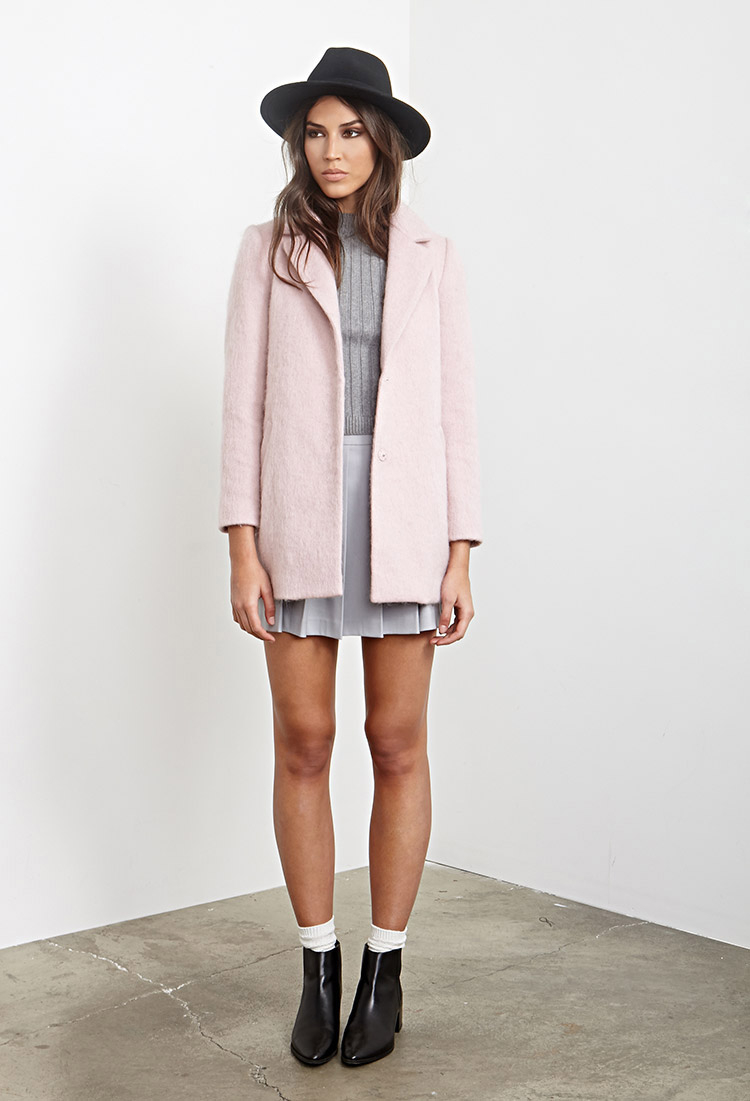 Forever 21 Textured Longline Coat in Pink | Lyst