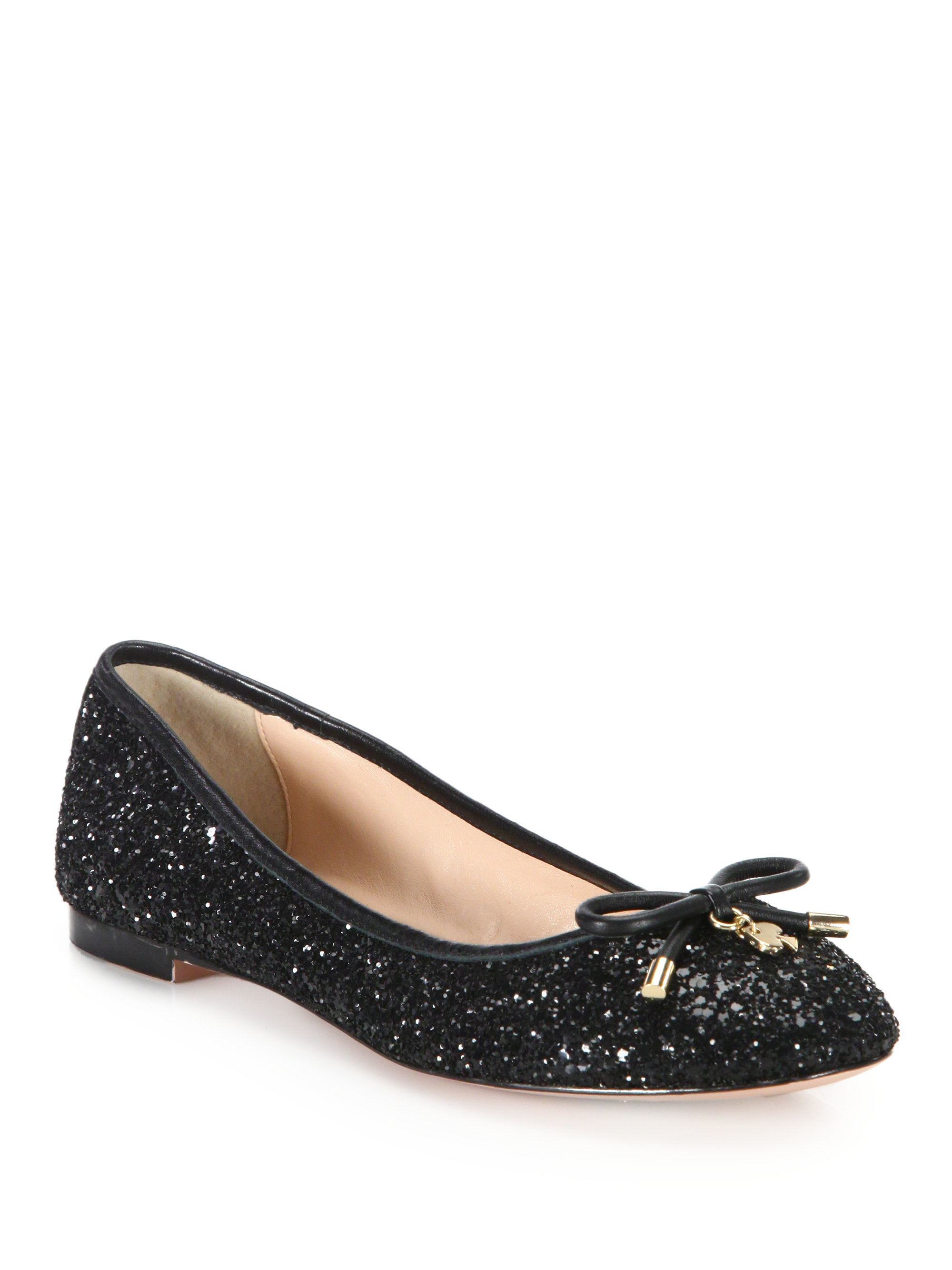 lyst kate spade new york willa glitter ballet flats in black