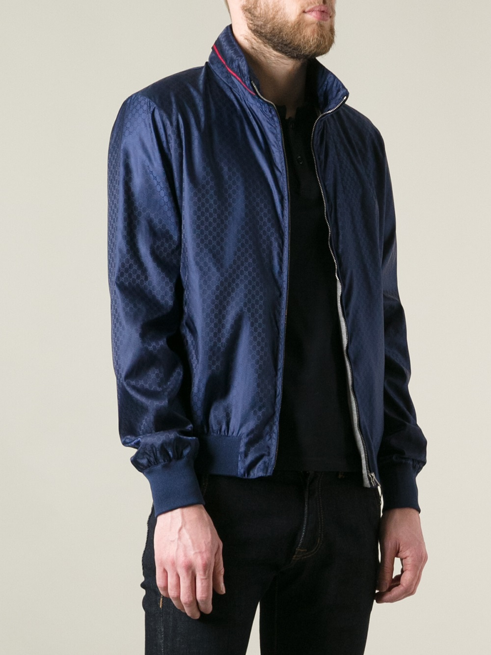 Gucci Printed Bomber Jacket in Blue for Men | Lyst