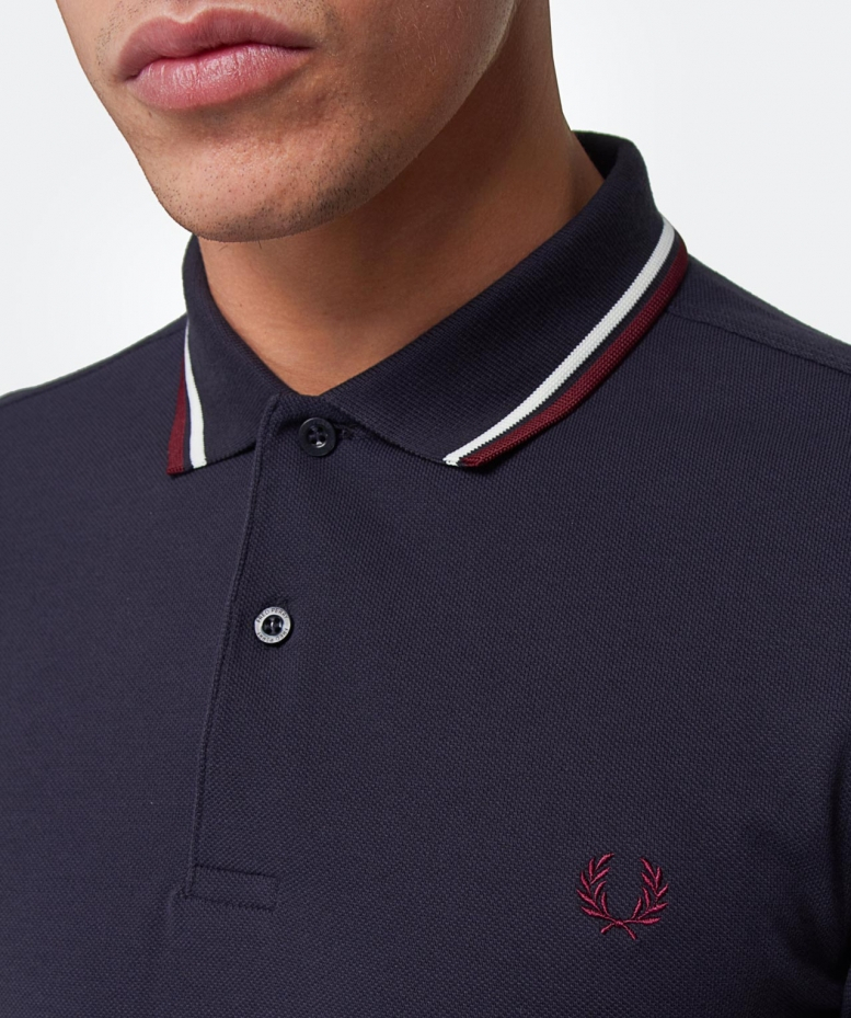 fred perry slim fit twin tipped polo shirt in gray for men. Black Bedroom Furniture Sets. Home Design Ideas