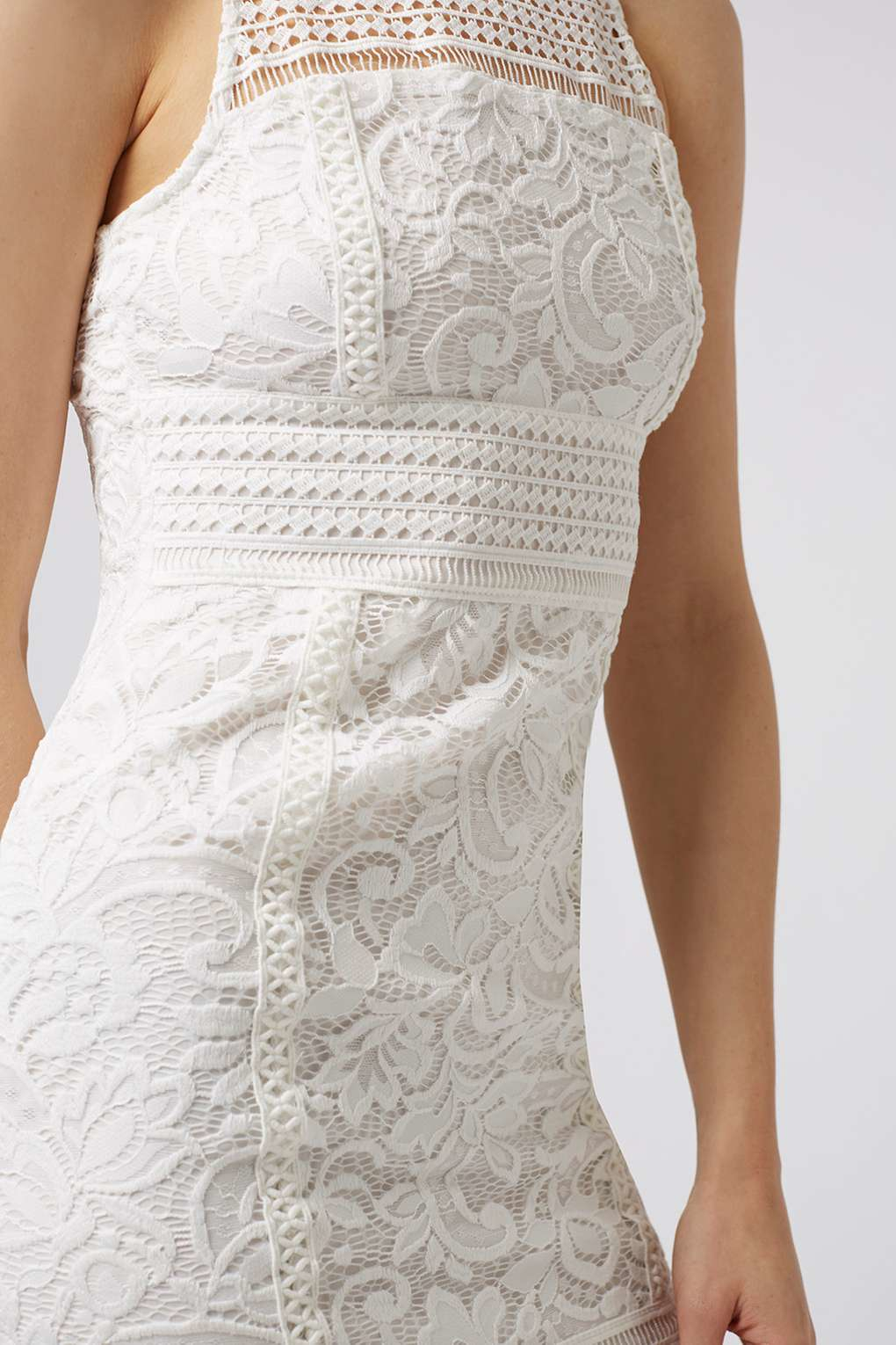 Topshop Petite Floral Lace Bodycon Dress In White Lyst
