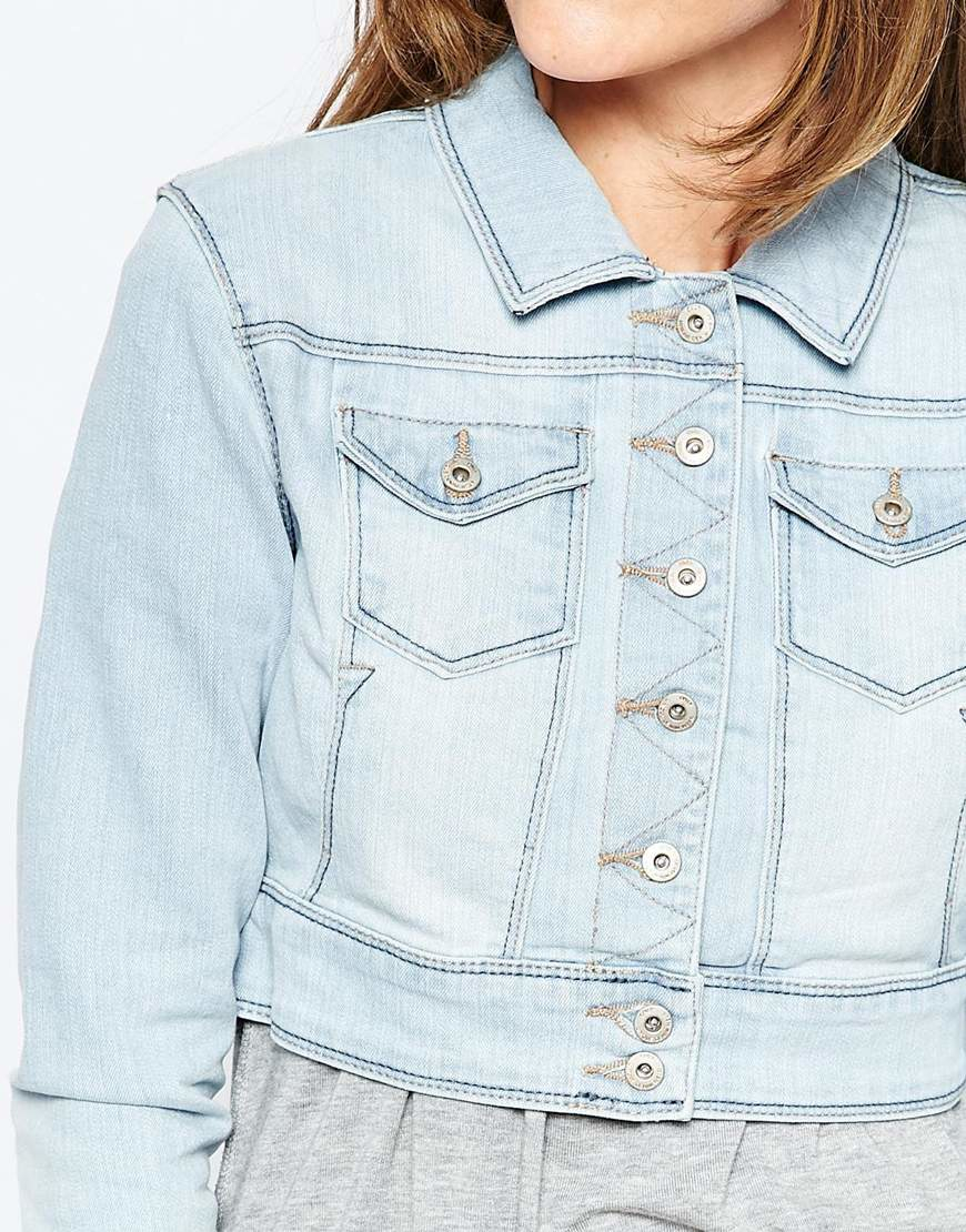 Only Cropped Denim Jacket in Blue | Lyst