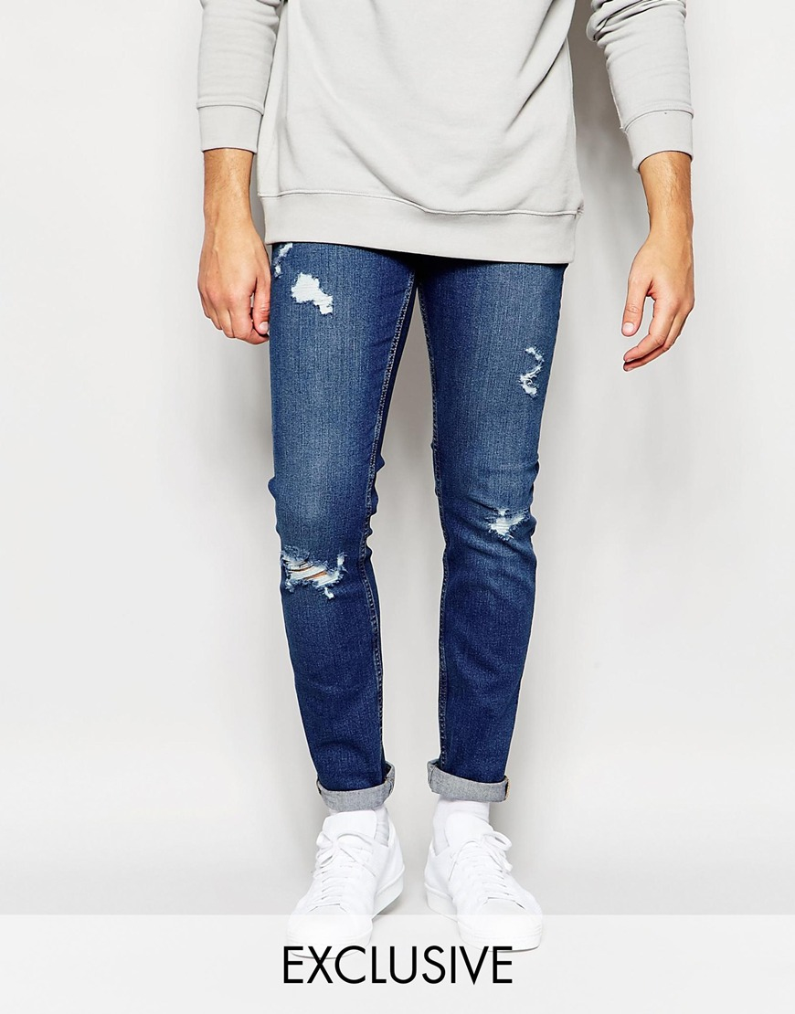 Cheap monday Tight Jeans Skinny Fit Dark Destroy Extreme Rips in ...