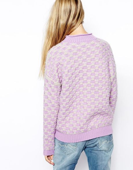 Chunky Knit Sweater Pattern : Asos Chunky Knit Sweater In Pattern in Purple (Lilac) Lyst