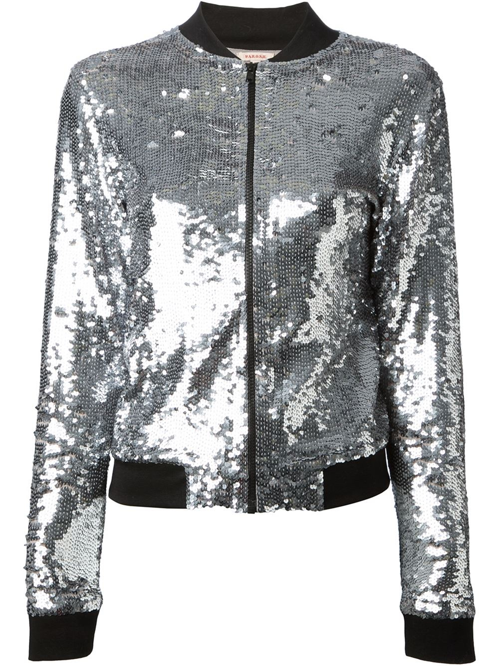 P.a.r.o.s.h. Sequin Jacket in Silver (metallic) | Lyst