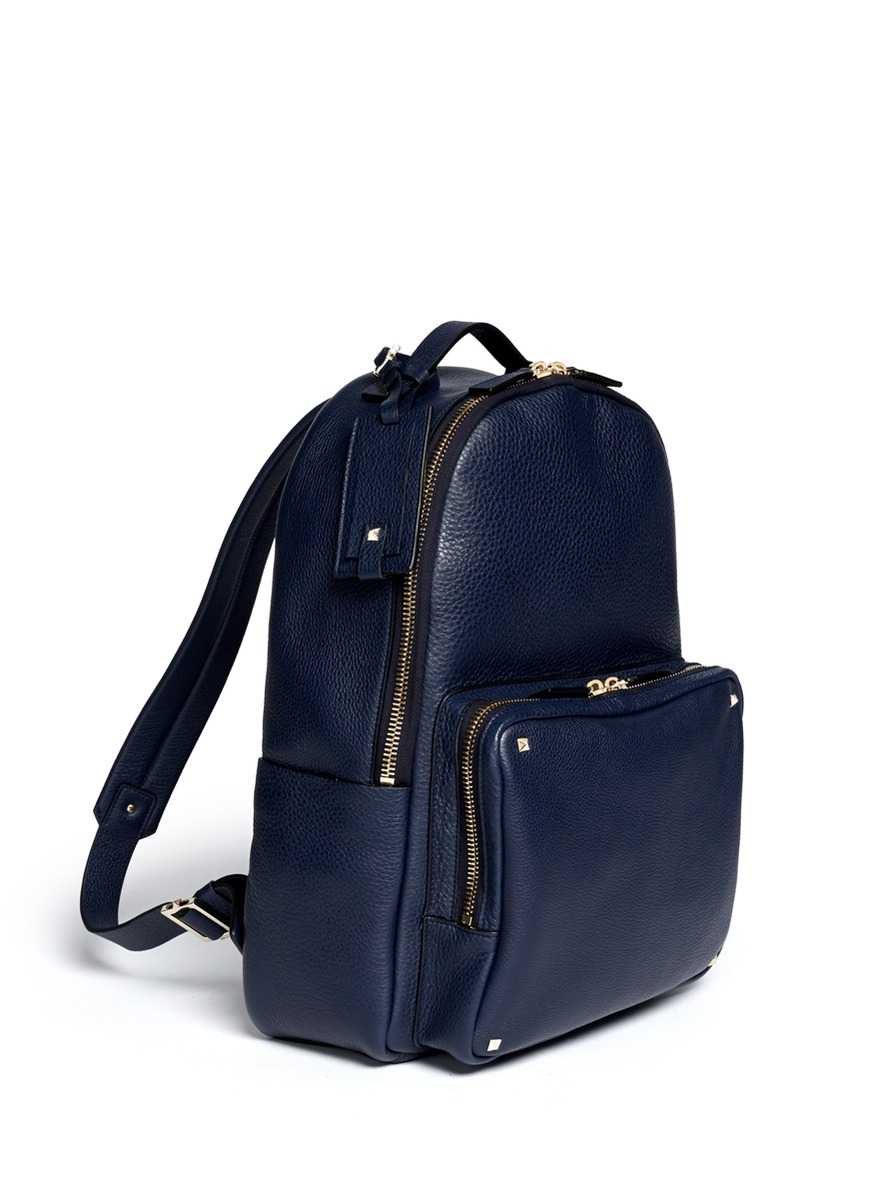 Valentino Studded Leather Backpack in Blue for Men | Lyst