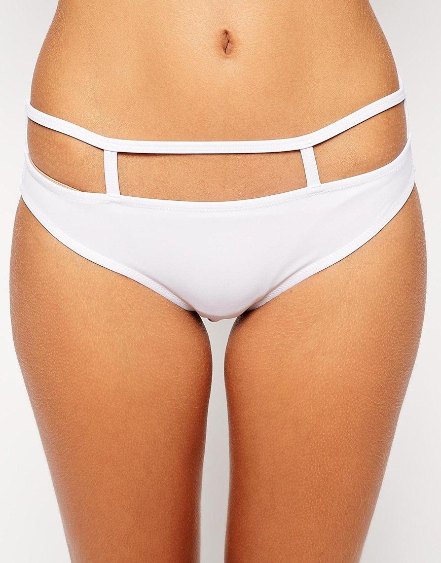 df6c7d4bac Lyst - ASOS Caged Hipster Bikini Bottom in White