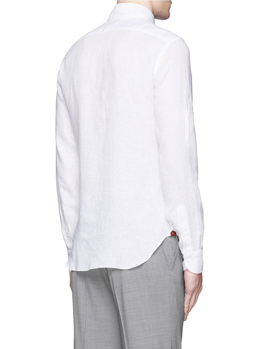 Lyst Isaia 39 Como 39 Linen Shirt In White For Men
