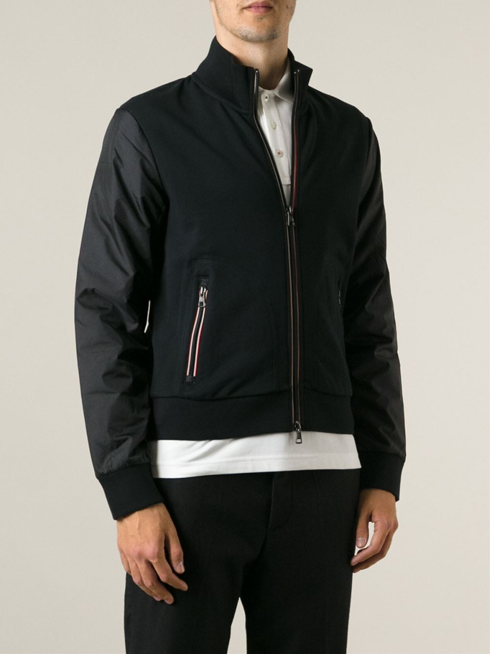 a0951a96a Lyst - Moncler Two-tone Bomber Jacket in Black for Men