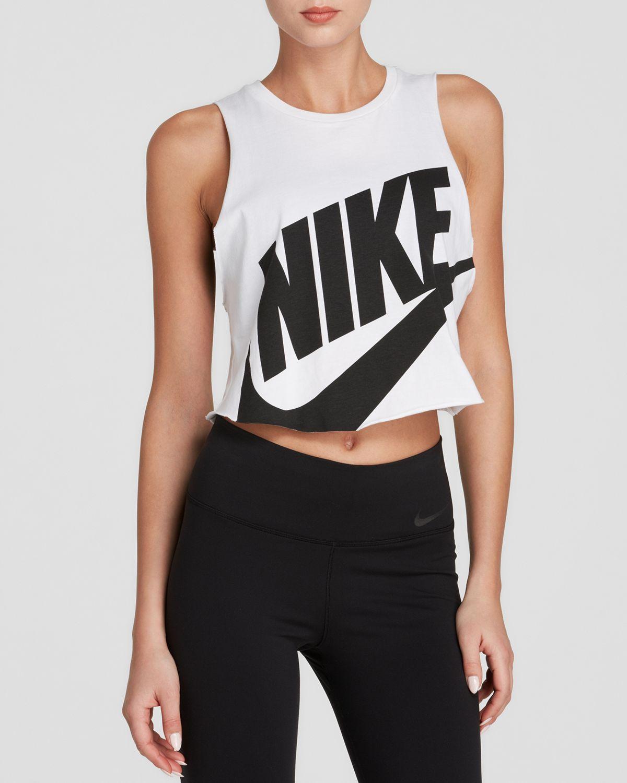 bda6a0b2427279 Nike Tank - Swoosh Crop in White - Lyst