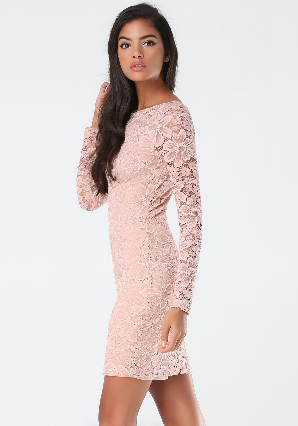 lyst bebe lace deep sweetheart dress in pink. Black Bedroom Furniture Sets. Home Design Ideas