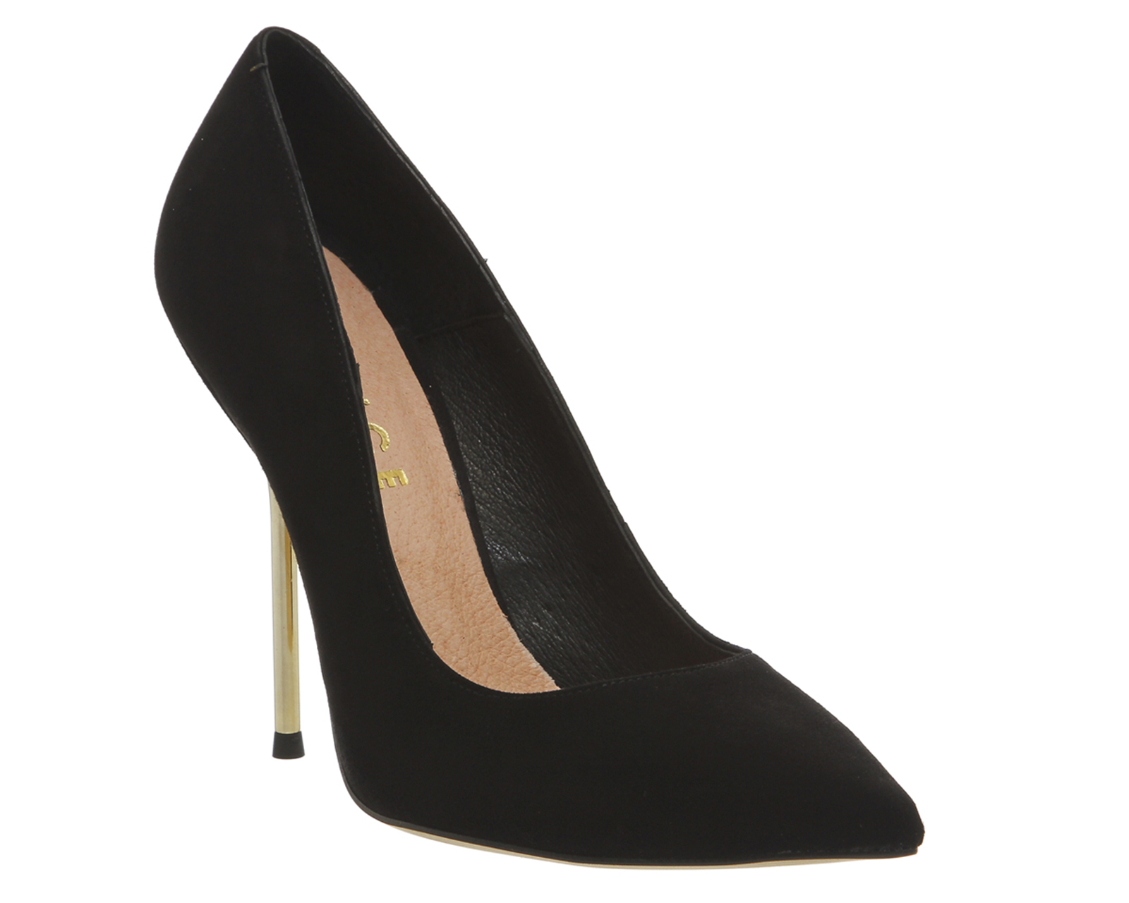 office tune metal heel point court shoes in black lyst