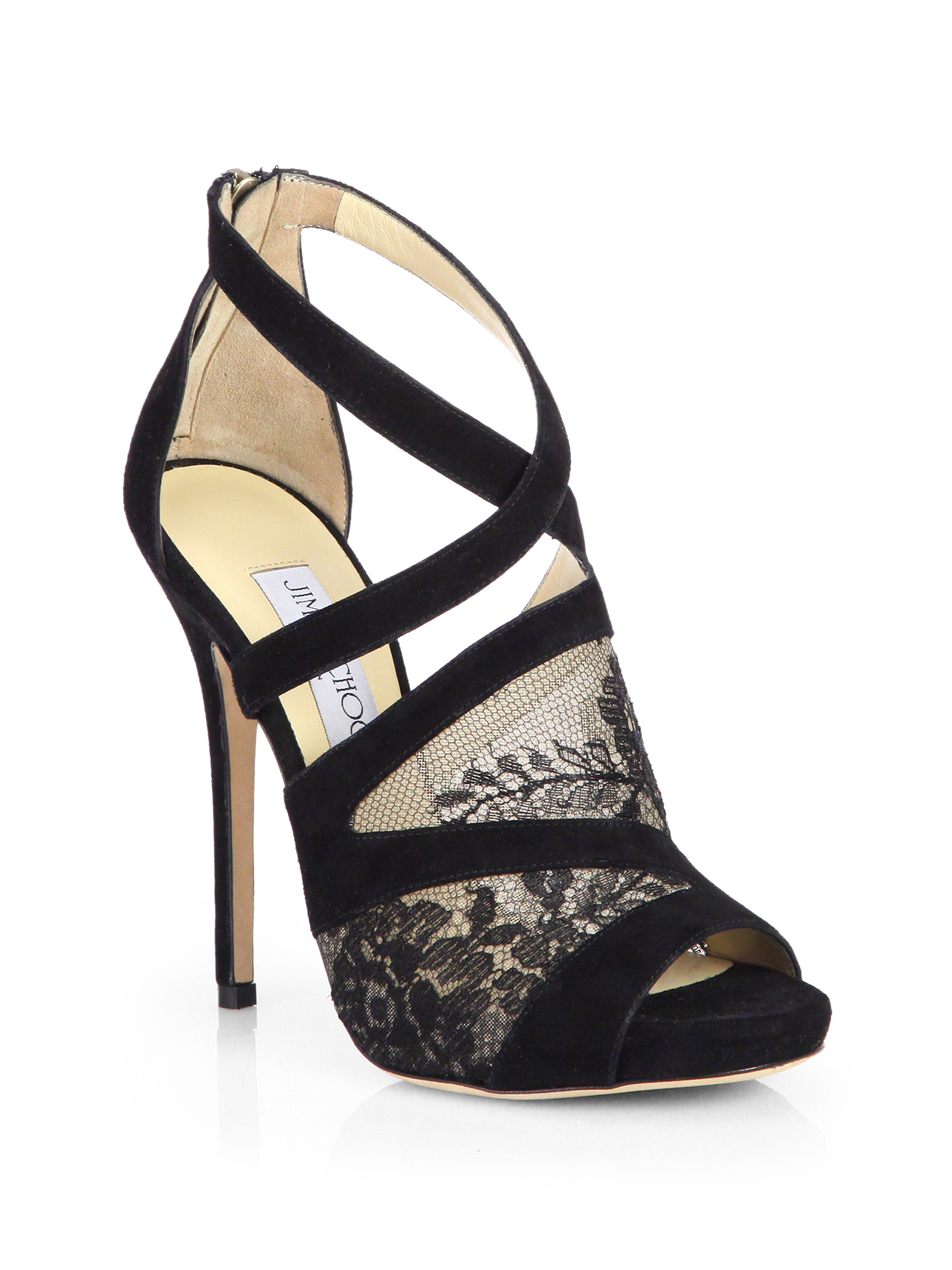 Jimmy Choo Vantage Suede & Lace Platform Sandals in Black ...