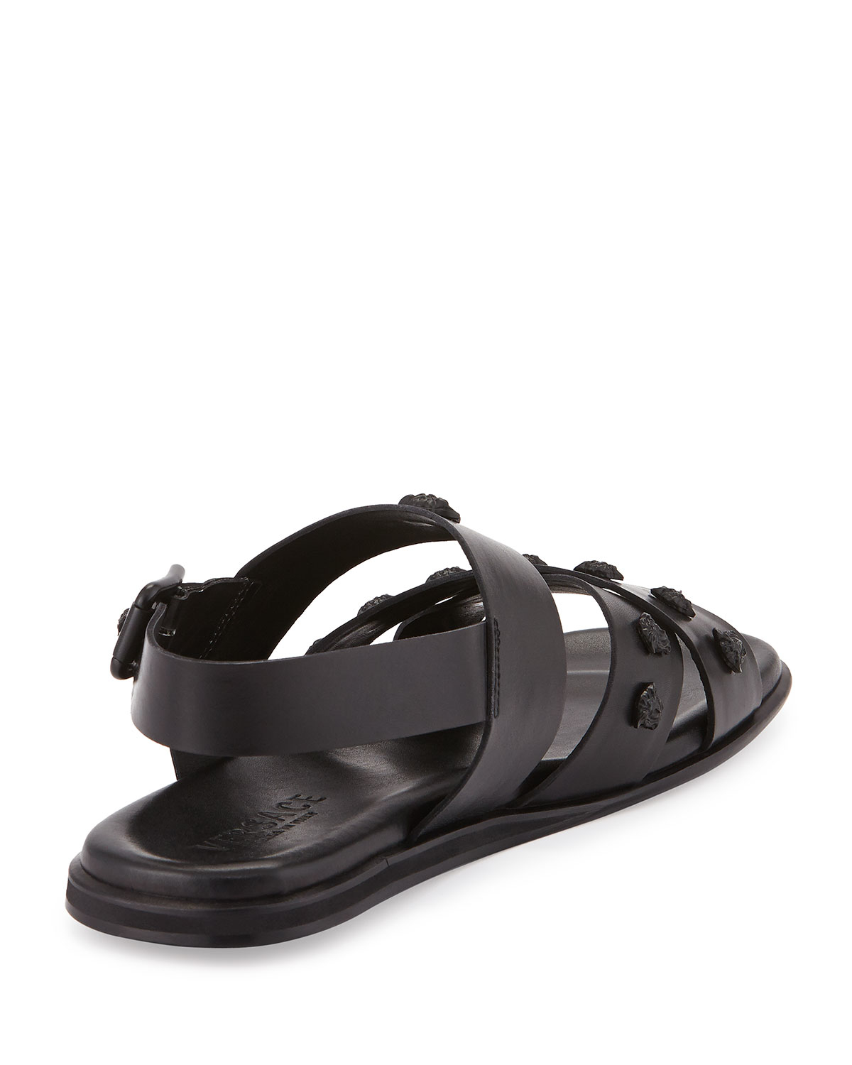 ffb05e717 Lyst - Versace Men s Leather Strappy Sandal in Black for Men