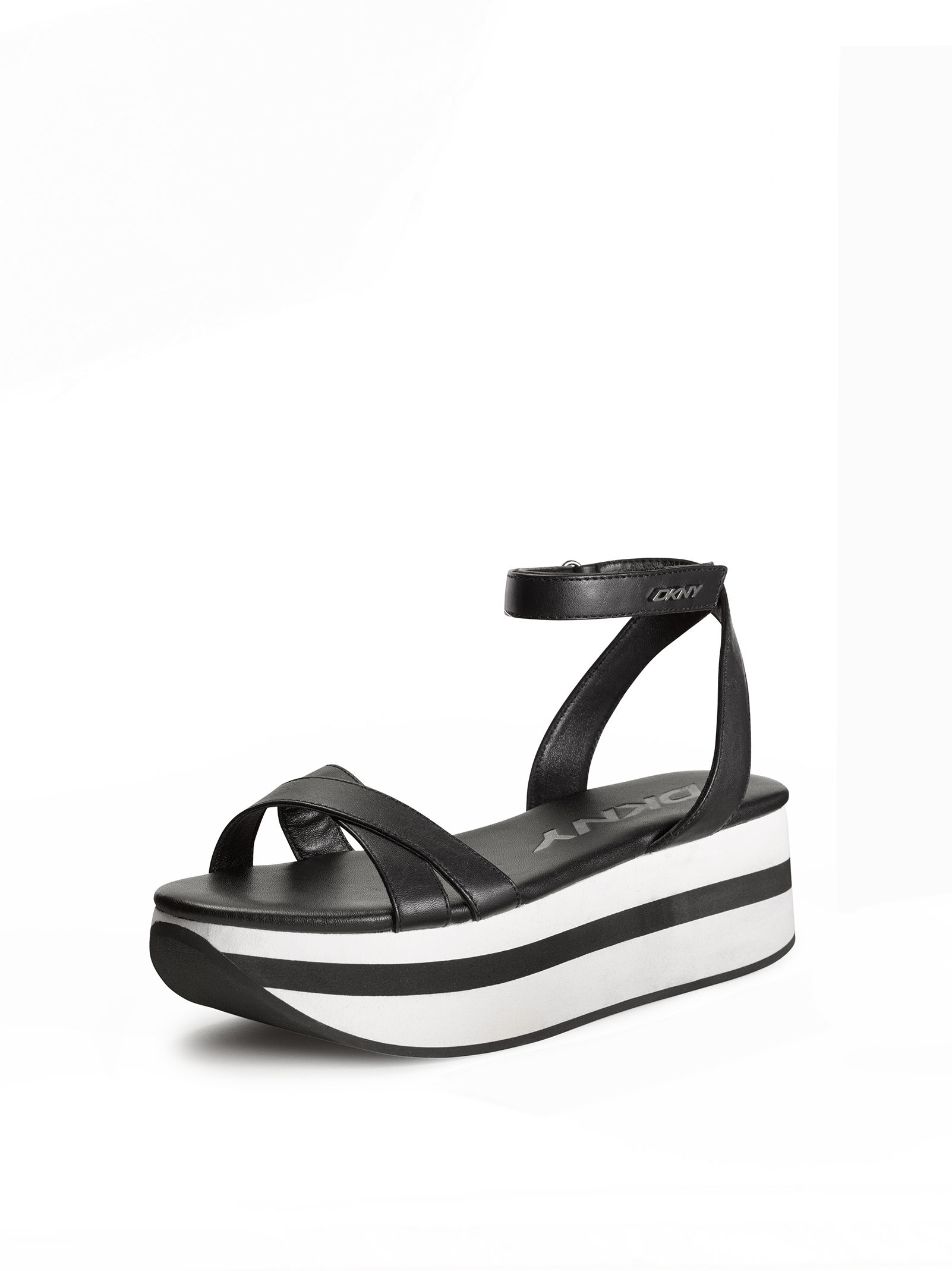 lyst dkny valerie leather platform sandal in black