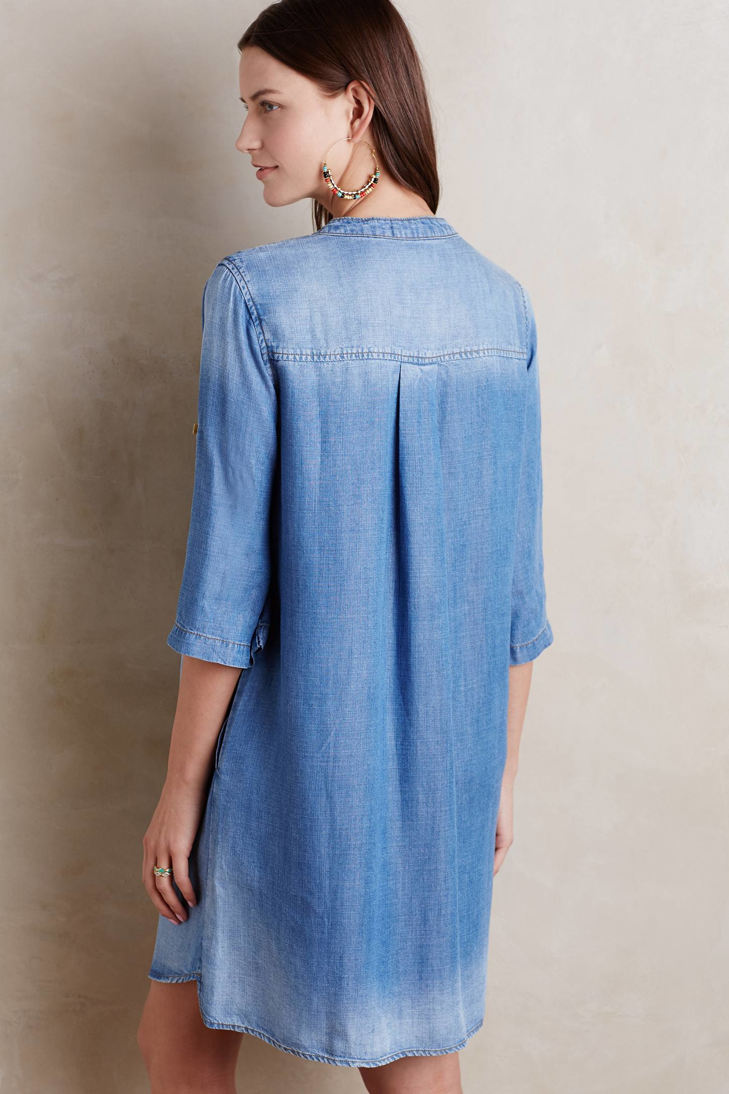 3e21b616e Cloth & Stone Xander Washed Denim Lace-up Dress in Blue - Lyst