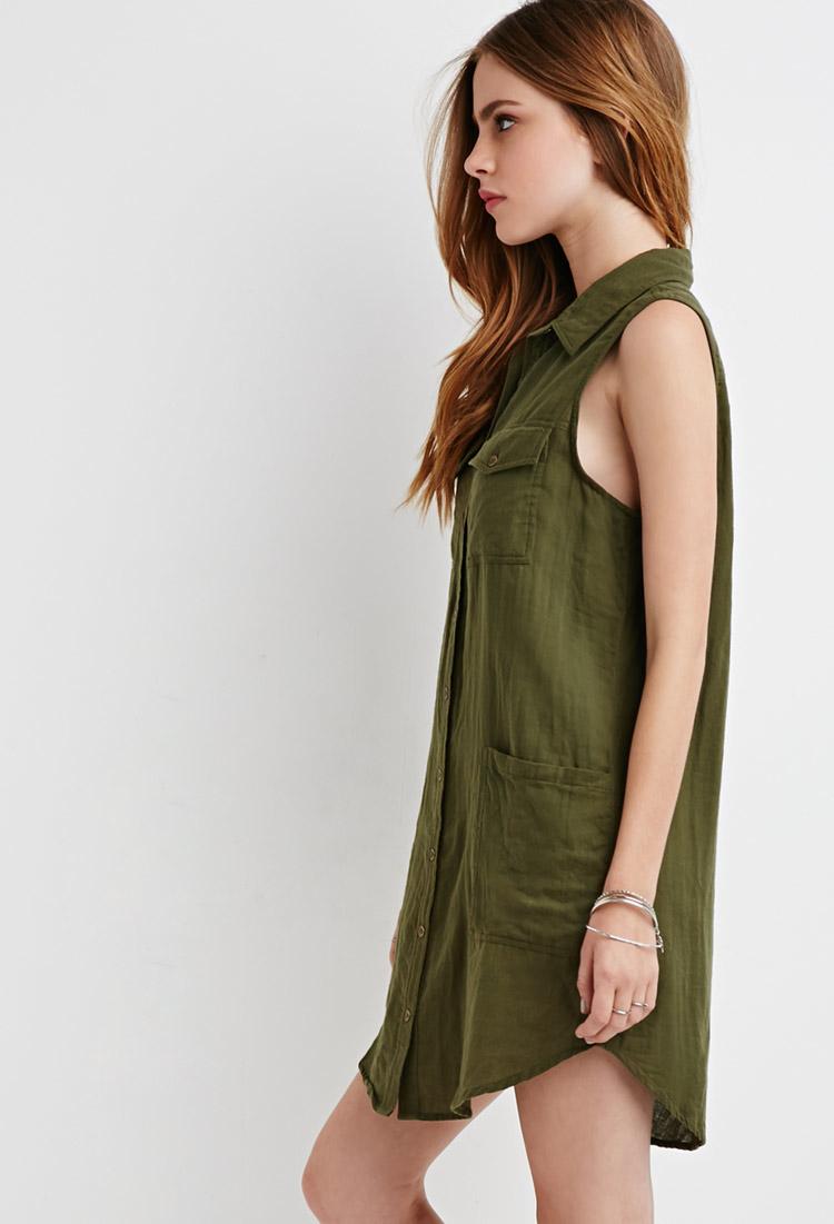 3dcb069c3ceb Forever 21 Pocket Shirt Dress in Green - Lyst
