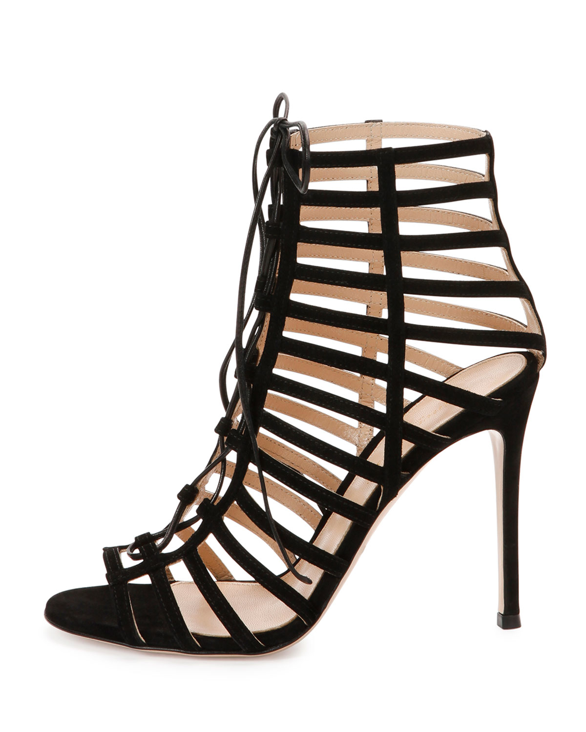 52298438b9b5 Lyst - Gianvito Rossi Suede Caged Lace-up Sandal in Black