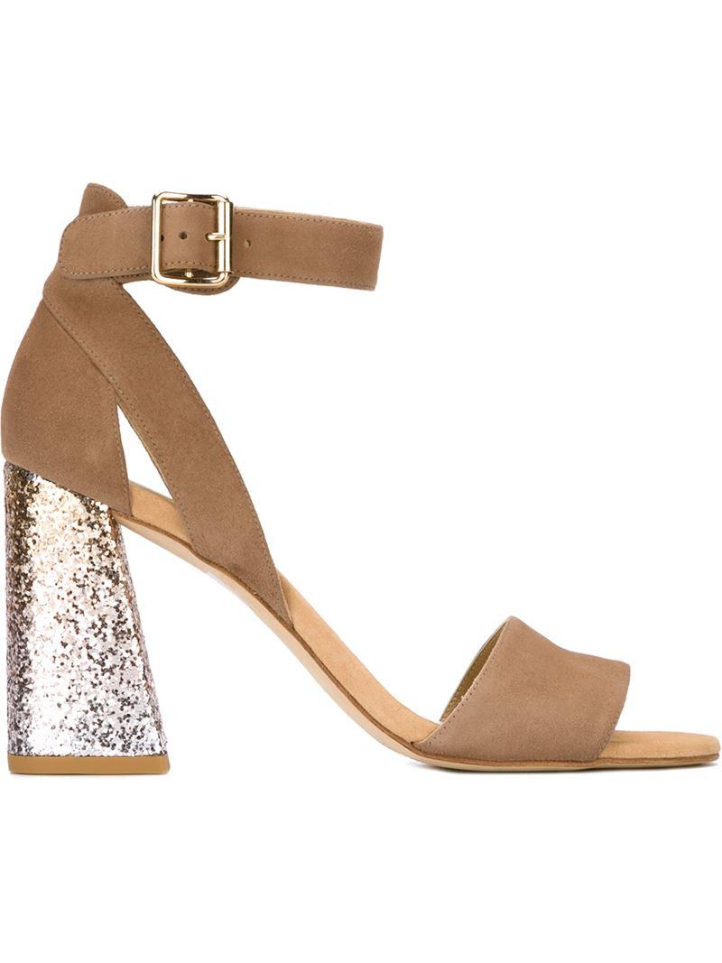 Stuart weitzman Chunky Glitter Heel Sandals in Metallic | Lyst