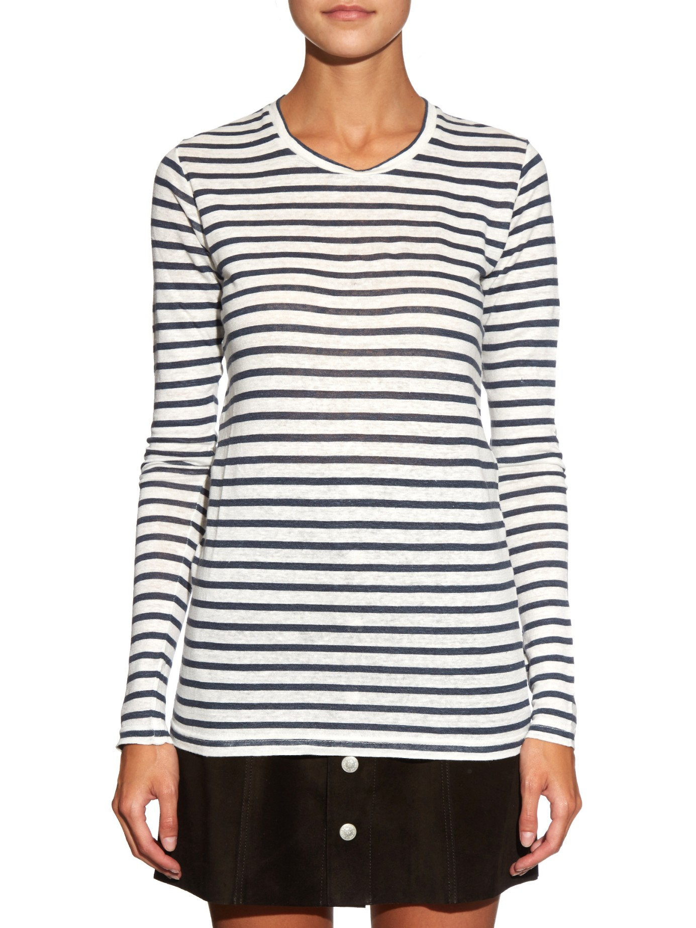 f78a86eb5ebf3 Lyst - Étoile Isabel Marant Karon Striped Linen T-shirt in White