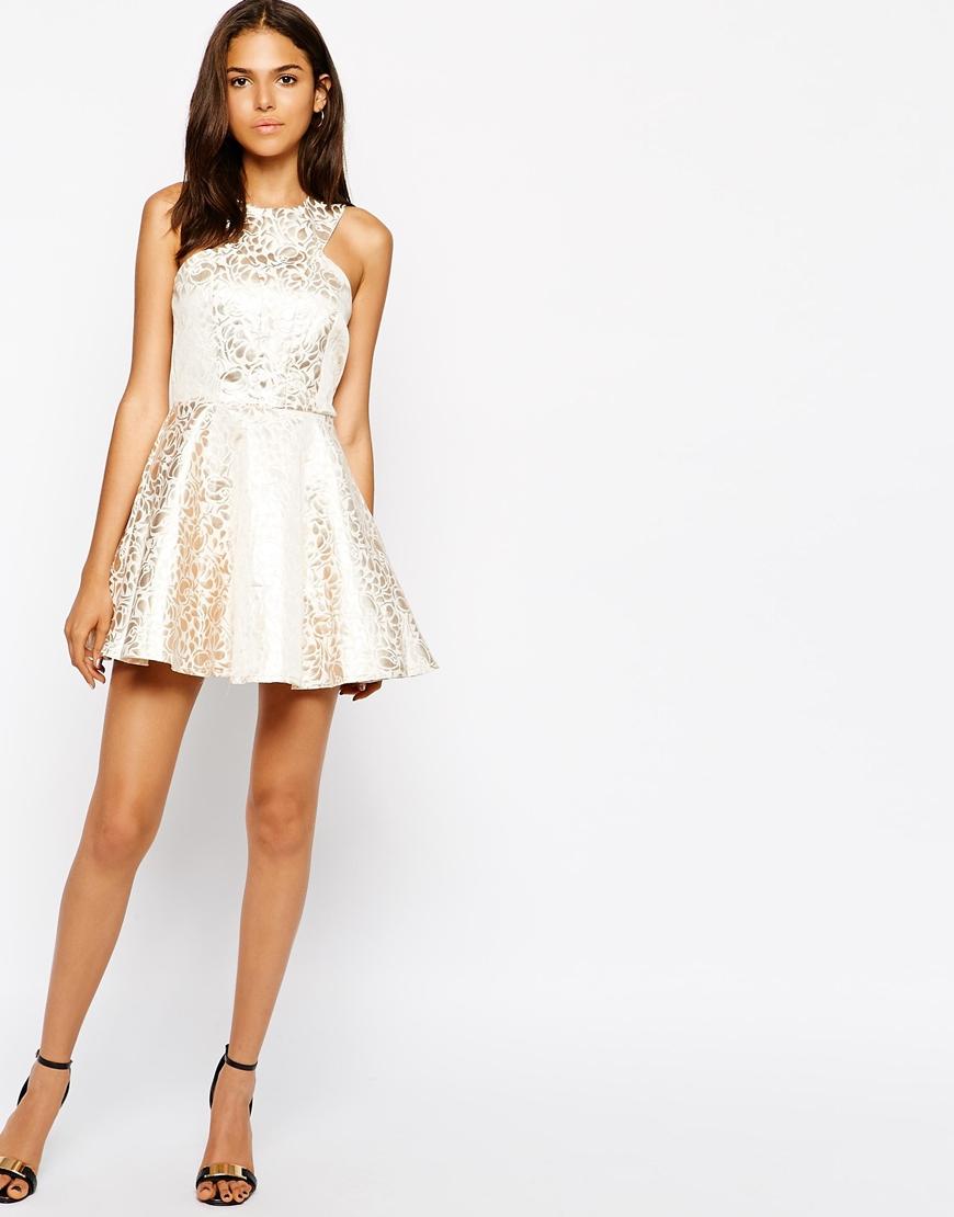 Ax Paris Lace Metallic Leaf Shift Dress - Black/gold AX PARIS RBFIbp7
