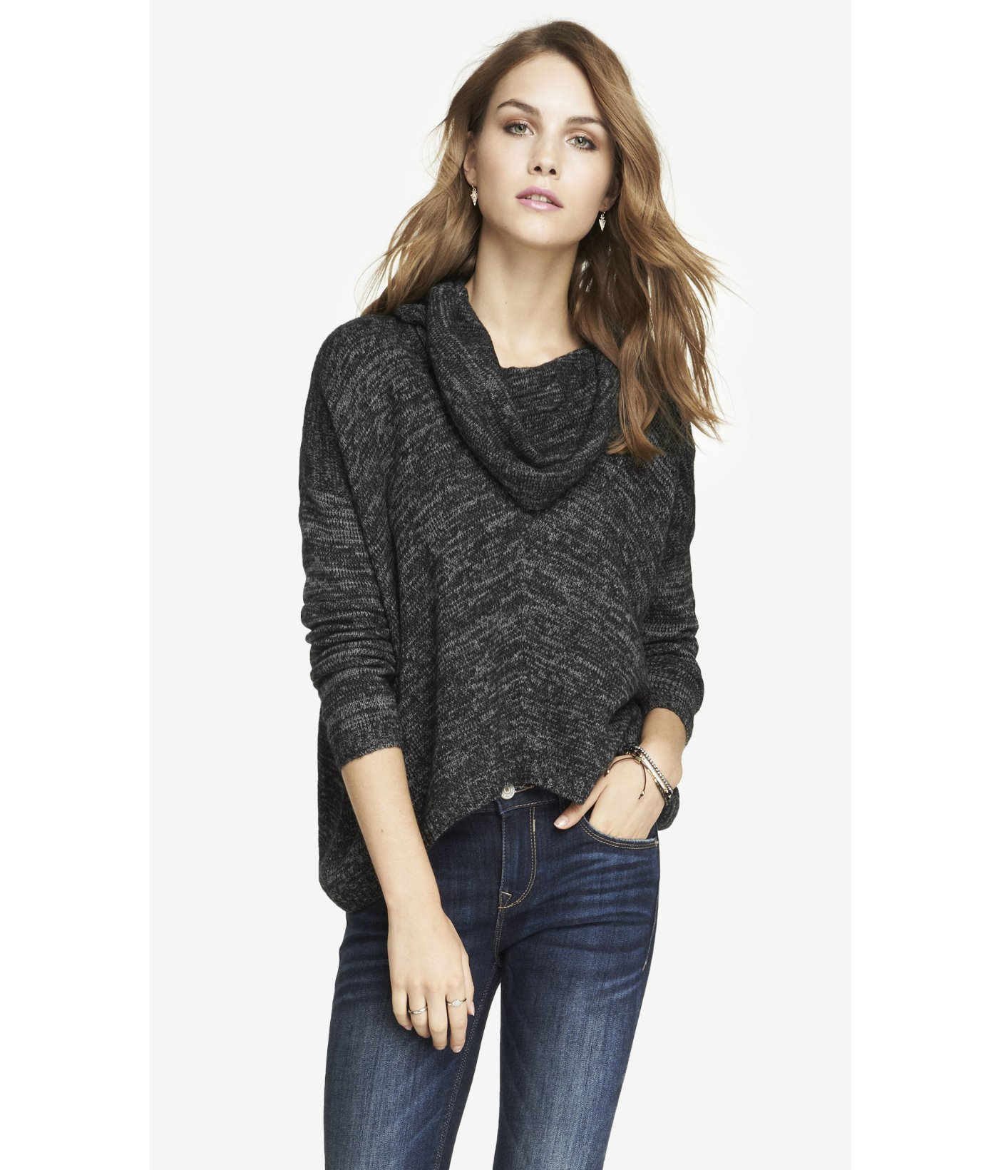 Express Oversized Marled Cowl Neck Sweater in Gray | Lyst