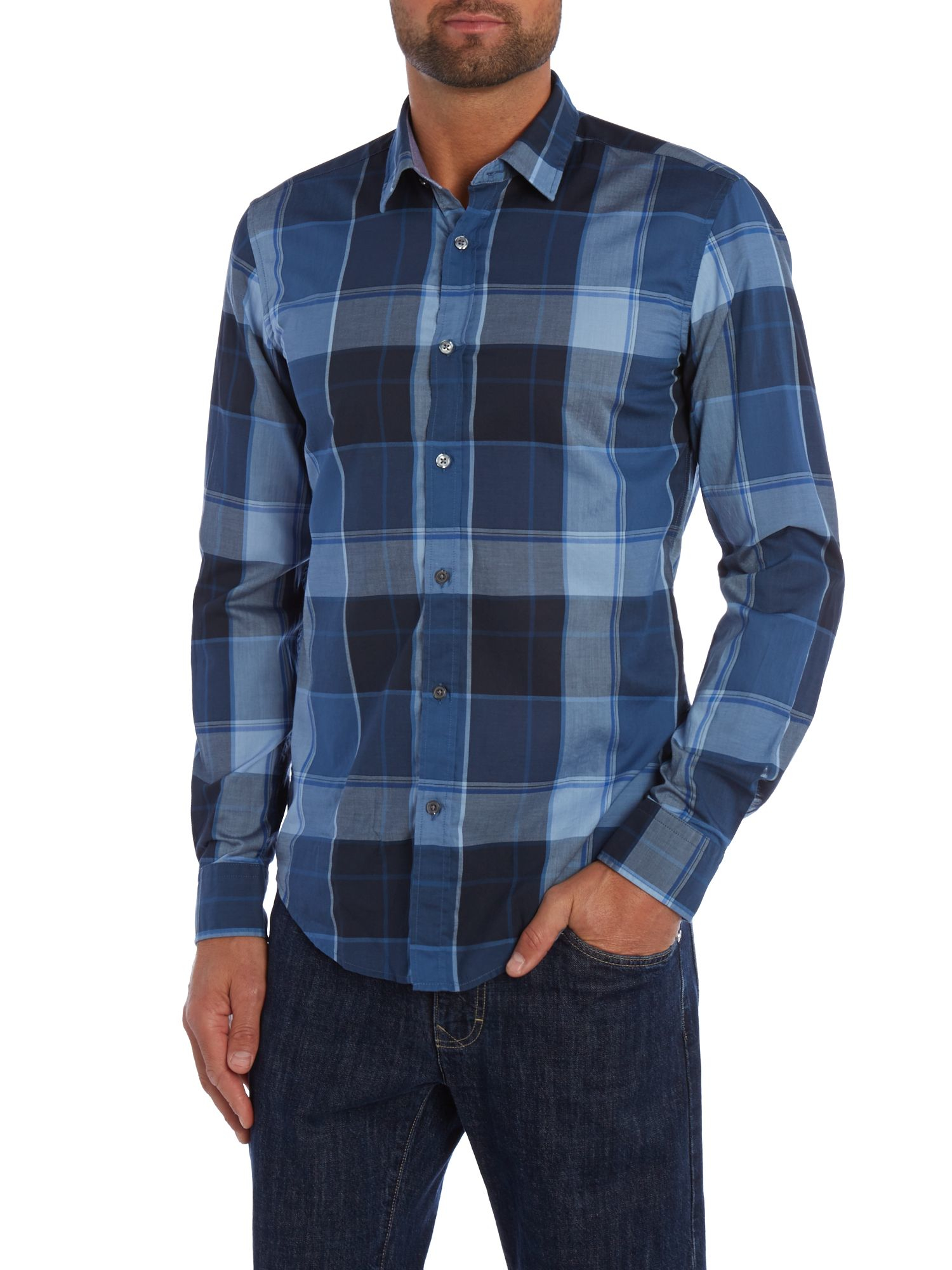 Lyst boss ronni 2 slim fit check shirt in blue for men for Slim fit check shirt