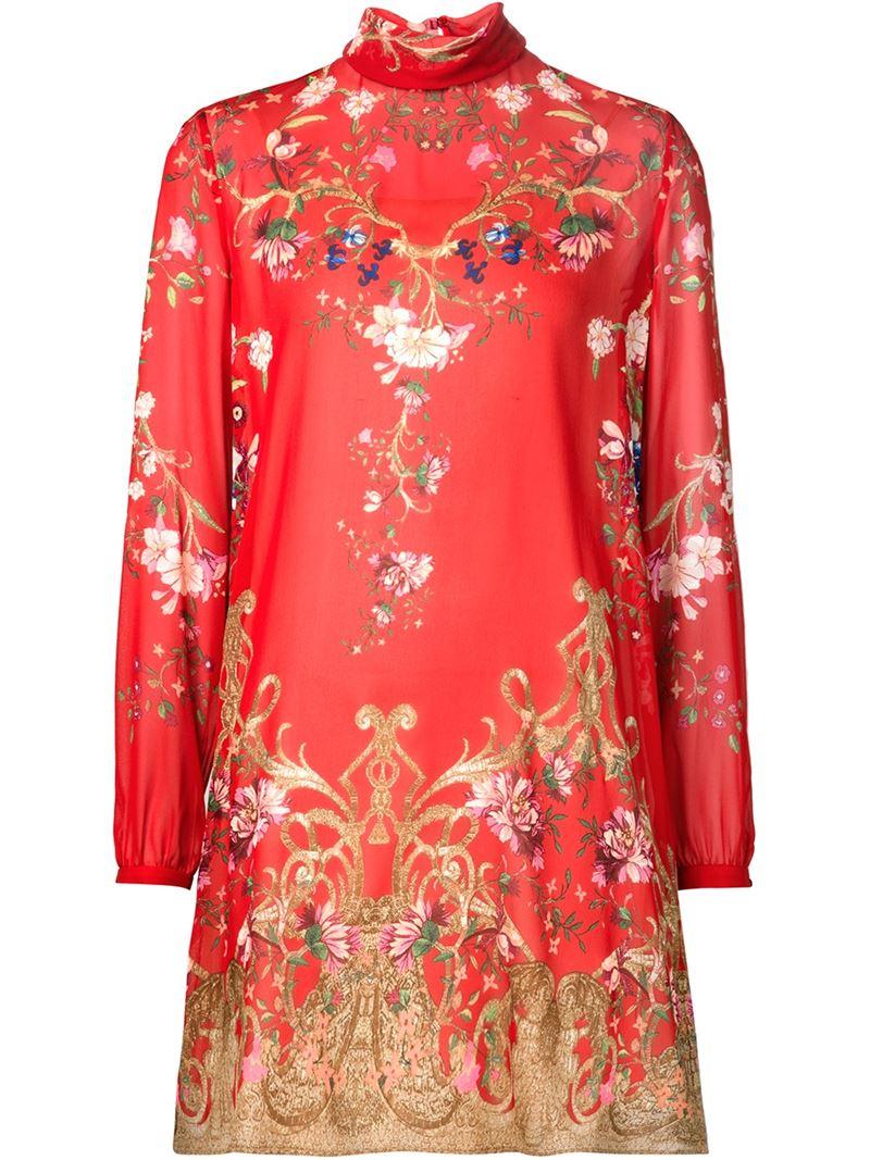 Lyst Roberto Cavalli Floral Print Mini Dress In Red