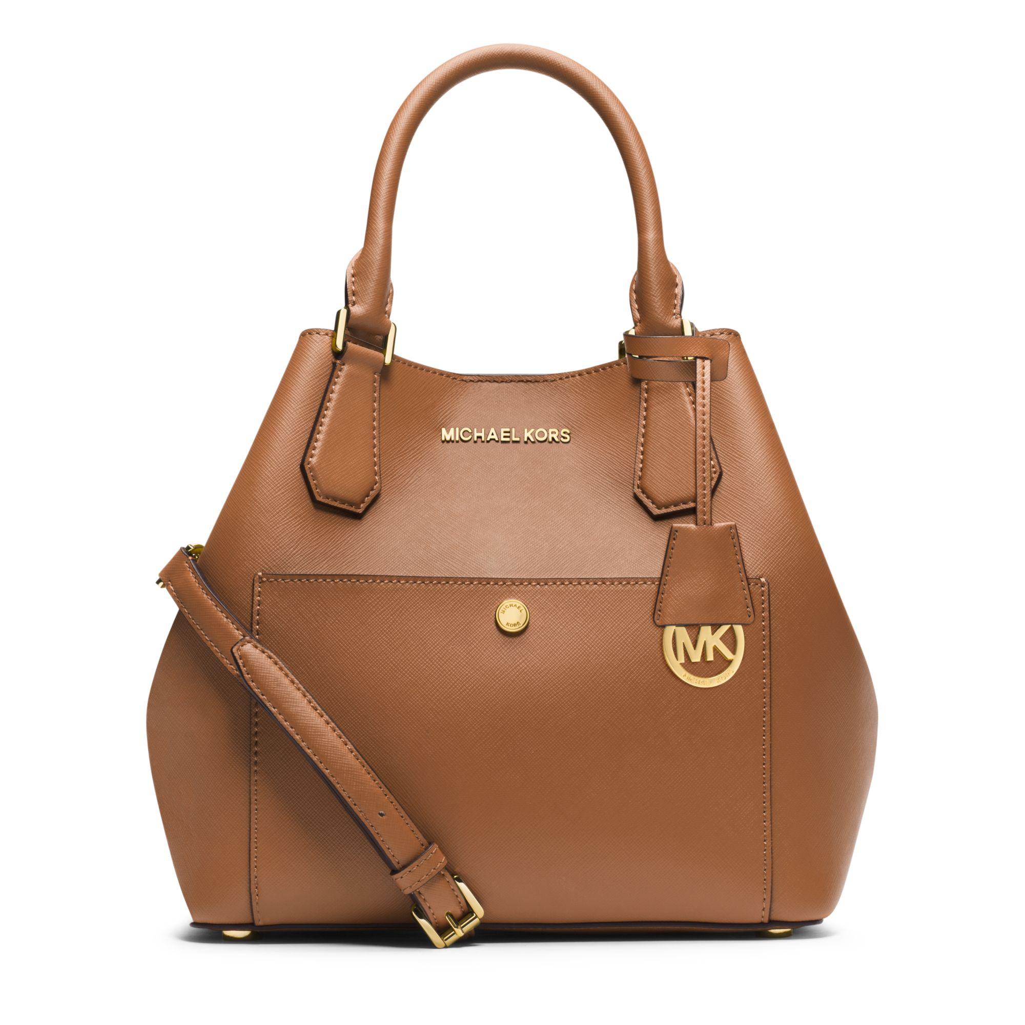 b409cbd60e54 ... canada lyst michael kors greenwich large saffiano leather satchel in  brown 24947 29c8e