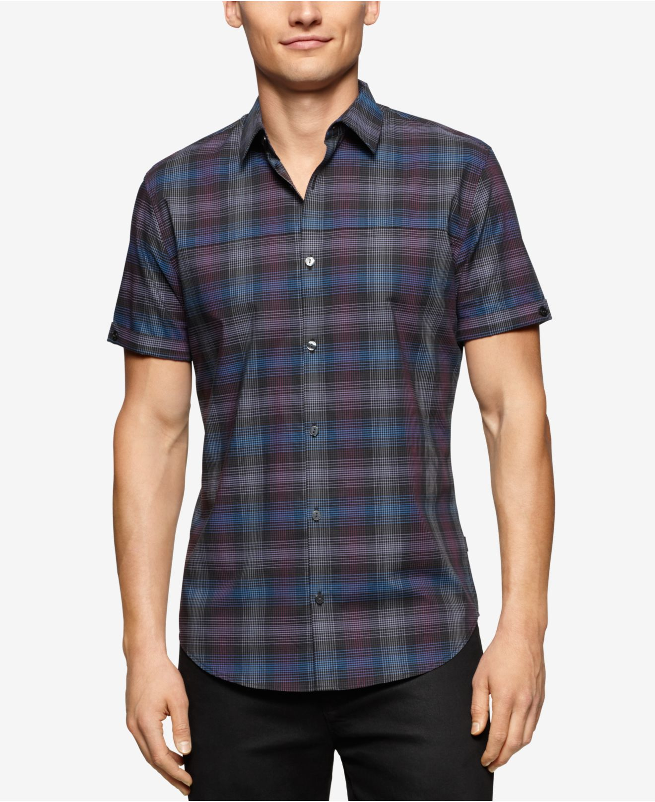 Calvin klein Men's Short Sleeve Slim Fit Large Twill Check Shirt ...