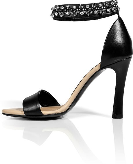 Chlo 233 Black Leather Jeweled Ankle Strap Sandals In Black