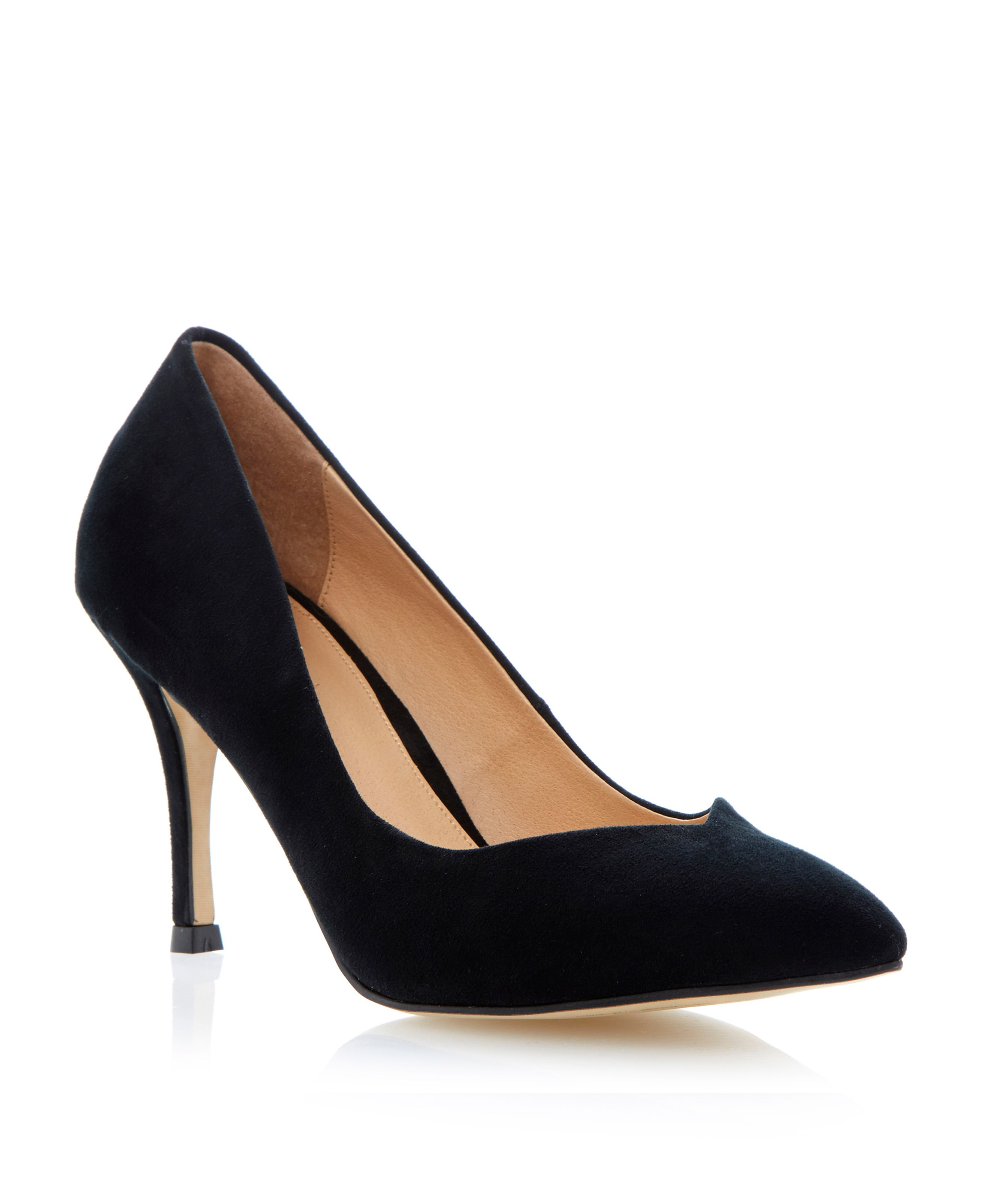 linea applejack pointed toe stiletto court shoes in black