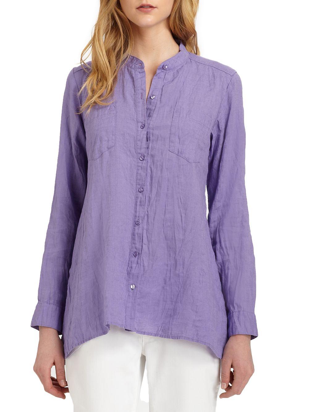 b5f6673733600 Lyst - Eileen Fisher Irish Linen Tunic in Purple